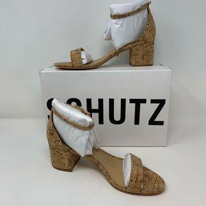 Schutz NWB Chimes Heel Sandals in Natural, 8.5